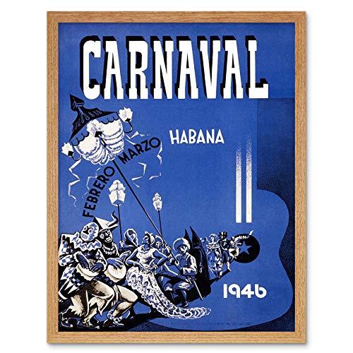 vel Cuba Havana Carnival Fiesta Vintage Art Print Framed Poster Wall Decor Kunstdruck Poster Wand-Dekor-12X16 Zoll ()