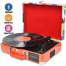 DIGITNOW! Tocadiscos Bluetooth plato giradiscos plato vinilo- Función Grabación, FM Radio, MP3,USB, SD, 3 velocidades, 33/45/78 RPM con Altavoces Incorporados