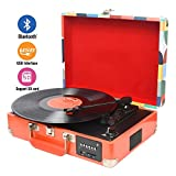 DIGITNOW! Bluetooth Vinyl / LP Schallplattenspieler mit Stilvollen Koffer Plattenspieler, Multifunktions FM Radio, USB zu MP3 Recorder / Player, Win 10 & Mac PC Aufnahme, Akku