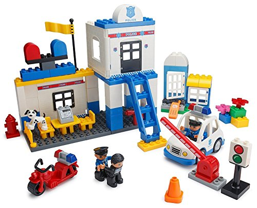 Play-Build-Police-Station-Building-Blocks-Set--95-Pieces--Includes-Police-Department-Car-Motorcycle-Jail-Cell-Police-Officer-Robber-Minifigures-Dog-Accessories