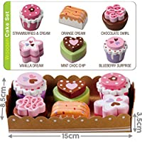 Bee Smart - Wooden Toy - Tea Party Wooden Cakes Pretend Play Food With Selection Card and Sturdy Cardboard Serving Tray