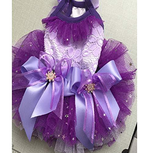 WHZWH Pet Hochzeitskleid, Hund Braut Kostüm Bow Dekoration Mehrschichtige Mesh Flauschigen Rock Geeignet für Hochzeit Foto Fotografie Geburtstag Party Bühne - Flauschigen Hunde Kostüm