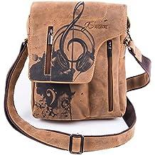 2707ffc270608d Umhängetasche Leder Braun Damen Klein Hochformat I Umschlagtasche Motiv  Noten Musik von JOriginal