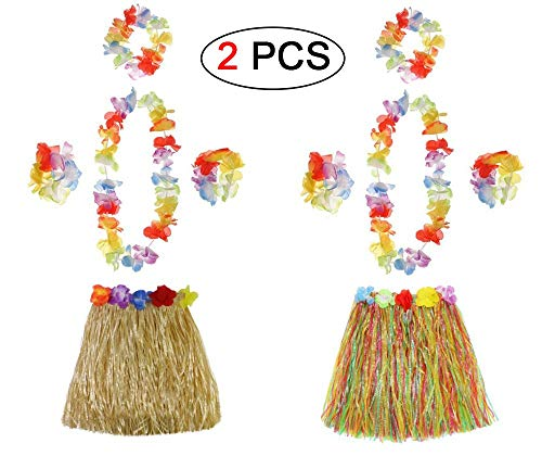 (Ungfu Mall 2 Sets Hawaiian Hula Gras Rock Blume Armbänder Stirnband Halskette Girlande Hawaiian Leis Fancy Dress Damen für Tropical Beach Party Hen Night mit 40 cm)