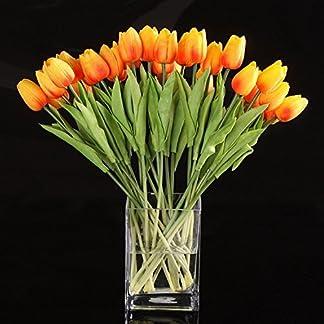 SODIAL(R) 10pcs Flor Del Tulipan De Latex Del Tacto Por Ramo De La Mejor Calidad Real Para Decorar De La Boda (Tulipan Naranja)