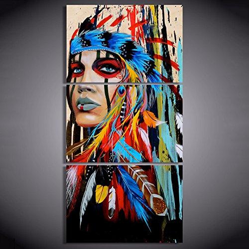 REFURBISHHOUSE 3 Piezas de Arte de Lienzo Indio Nativo Americano con P