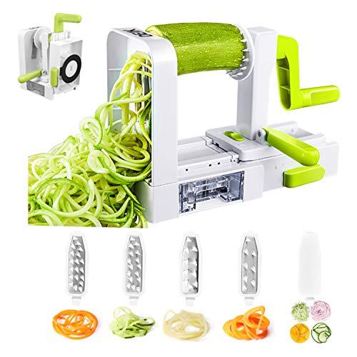 Spiralizer Coupe-Légumes, Deik 5 Lames Spirale de Légumes, Pliable Trancheuse Spirale, Meilleur...