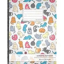 """Kariertes Notizbuch • A4-Format, 100+ Seiten, Soft Cover, Register, Mit Rand, """"Verückte Katzen"""" • Original #GoodMemos Quad Ruled Notebook • Perfekt als Matheheft, Skizzenbuch, Notizheft, Tagebuch"""