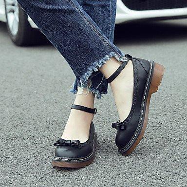 Confortevole ed elegante piatto scarpe donna Comfort Oxfords / punta tonda / punta chiusa Casual tacco basso Bowknot / BuckleBlack / Giallo / Black