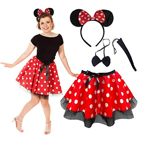 Minnie Mouse Kostüm Damen Pink - Minnie Maus Tutu Rock mit Stirnband,