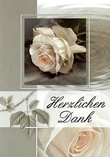 10 Danksagungskarten Trauerkarten mit Umschlägen Motiv Rose (T02-94929)