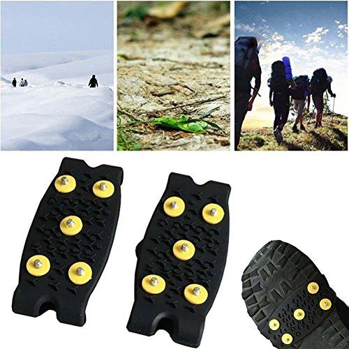UKBIOLOGY 1 Paar Anti Slip Eis Schnee Klettern Spikes Griffe Crampon Cleats 5-Stud Schuhe Cover Stand Sport Wandern Praktische Running Equipment Creative