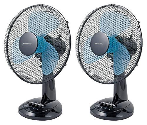 Lot De 2 Ventilateurs De Table Ou De Bureau Très Silencieux, 3 Vitesses De Ventilation, Oscillant Avec Rotation, Noir