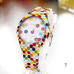 Fashion Polka Dots Design Geneva Watch Women Quartz Silicone Strap Glass Face Female Wristwatch Time Relogio Feminino W-093
