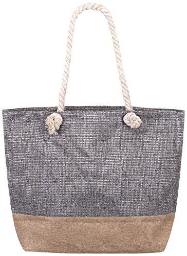 e eingewebte Silber- Goldstreifen XXL Shopper Beach Bag mit breiter Kordel Schultertasche, Taschen Farbe:Grau ()