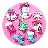 SA038 - Stampo in silicone per uso alimentare - fiocco di neve - campanelle - albero di natale - ghirlanda - calze - caramella - Pasta di zucchero - Fondenti - Torte - Pancake - Muffin - Decorazioni