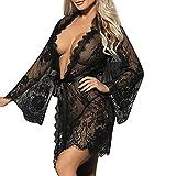 Damen Dessous CLOOM Sexy Kleid Gown Lace Kimono Robe lange Ärmel Transparent Nightwear Perspektive Unterwäsche Lose Erotik Bikini Cover Up Frauen Babydoll Sommer Mantel (Schwarz, L)