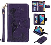Galaxy A5 2016 Case, CUSKING Premium Leather Wallet Stand Flip Folio Case for Samsung Galaxy A5 2016 Protective Bumper Shockproof Case with Card Holder and Strap - Purple
