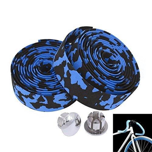 MBrisk Camouflage-Serie Fahrrad-Teile, Schaumstoff-Griffband, Rutschfester Gurt mit Stangenstopfen für Mountainbike, 2 Stück, schwarz/blau -