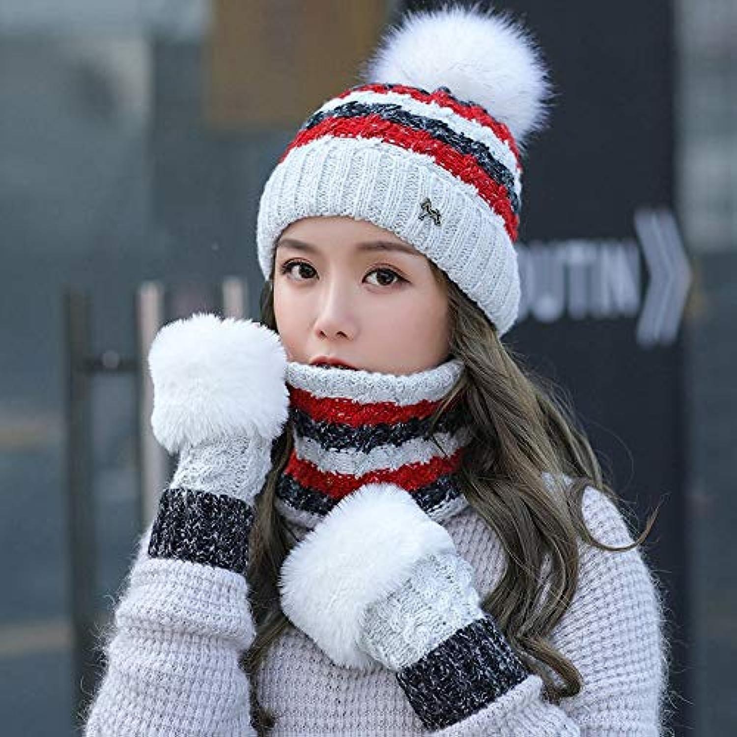 YSFU cappello sciarpa guanti donna Sciarpa Donna Autunno Inverno Tre  Cappello Guanti Sciarpa A Tre Inverno Pezzi in Maglia... ce9008 6011d2c5a21a