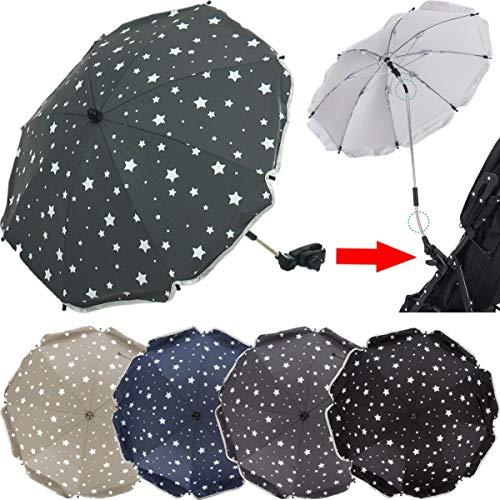PREMIUM SONNENSCHIRM für Kinderwagen/Buggy (UV-SCHUTZ 50+) Schirm WASSERABWEISEND (GRAU)