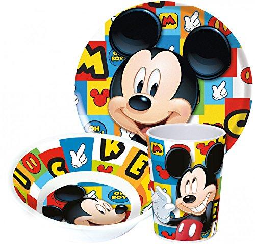 Disney Mickey Maus Kinderservice mit Teller, Müslischüssel und Trinkbecher aus Melamin Frühstück Becher-set