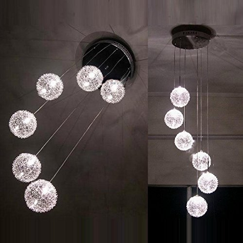 Nueva 6luces Aluminio Alambre Bolas de cristal Parlor–Lámpara