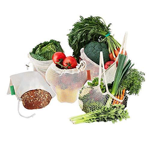 Ciaoed Gemüsebeutel Einkaufsnetze,100{d5c9ddc48b6e422ff5dc666f196c66d5c9bb9a08d1f30814b33e931e1ec4db87} Umweltfreundlich Haltbar Wiederverwendbare Waschbar Einkaufsbeutel Gemüsenetz Baumwollbeutel für 5 stück Zero-Waste Bio Baumwolle Aufbewahrungstasche