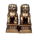 Une Paire de Statues de Chiens Fu Foo de Beijing Lions Pair, résine Gardien, décor Chinois Feng Shui, pour la Maison et Le Bureau, Attirer la Richesse et Bonne Chance, Deux Couleurs,Metallic