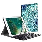 Fintie Bluetooth Tastatur Hülle für iPad 9.7 Zoll 2018 2017 / iPad Air 2 / iPad Air - Ultradünn leicht Ständer Keyboard Case mit magnetisch Abnehmbarer drahtloser Deutscher Tastatur, smaragdblau