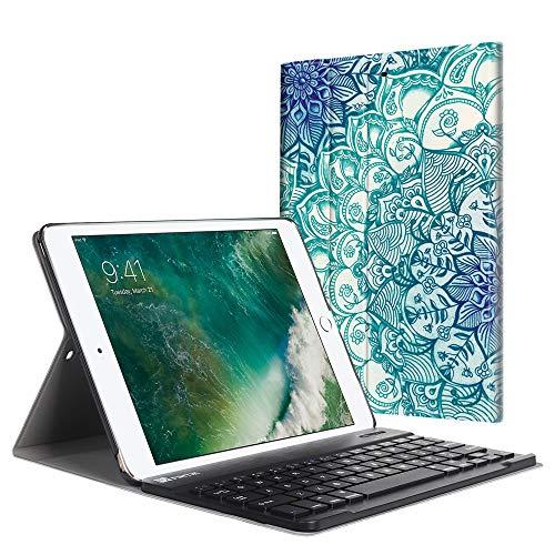Fintie Tastatur Hülle für iPad 9.7 Zoll 2018 2017 / iPad Air 2 / iPad Air - Ultradünn leicht Schutzhülle Keyboard Case mit magnetisch Abnehmbarer drahtloser Deutscher Bluetooth Tastatur, smaragdblau