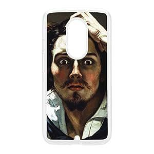 Le Desespere by Gustave Courbet Coque Rigide Plastique Blanc Snap-On Protection Arrière pour Moto X2 de Painting Masterpieces + Livré avec une protection d'écran GRATUITE