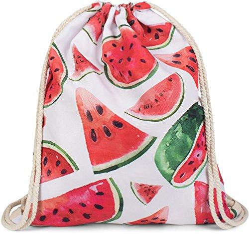 styleBREAKER Turnbeutel mit Melonen Print, Rucksack, Sportbeutel, Beutel, Unisex 02012239, Farbe:Weiß-Rot-Grün