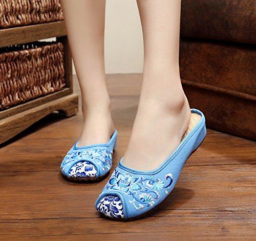 GXS Blaues und weißes Porzellan Gestickte Schuhe, Sehnensohle, ethnischer Stil, weiblicher Flip Flop, Mode, bequem, Sandalen Blue