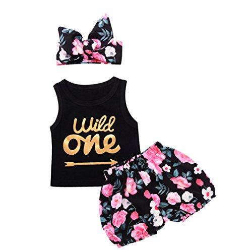 Beikoard Niña Vestido Liquidación, Traje de Verano Recién Nacido Baby Girl Carta t Shirt Top Floral Shorts Pantalones Ropa Set (90cm/12M, Negro)