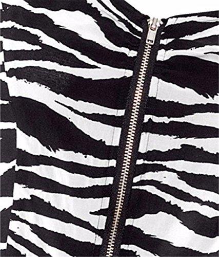sexy Frauen sleeveless Reissverschluss schlanke Faltenrock sundress Midi  Kleid XS XXL Zebra