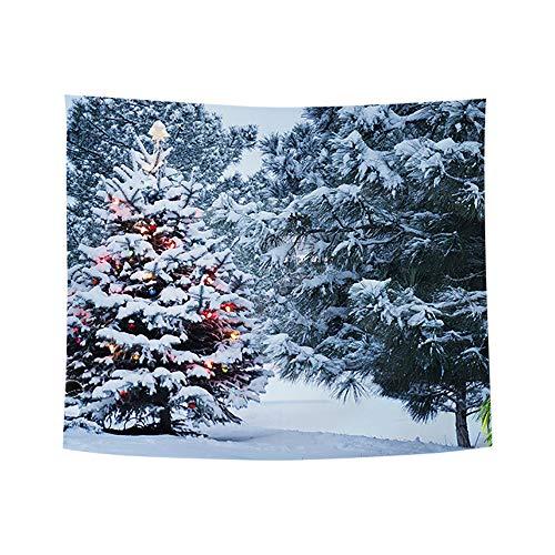 ODJOY-FAN Weihnachten Kunst Zuhause Wand Hängend Tapisserie Weihnachtsbaum Pfirsich Leder Stoff Tapisserie Wand Dekor Wandbilder Ornamentik (150x130 cm)(K,1 PC)