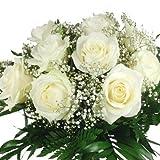 XL Blumenstrauß weiße Rosen - Aufgebunden mit Schleierkaut und Schnittgrün
