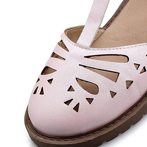 Niedriger Sandalen Schließen Schnalle Damen Pink Leder Rein Absatz lou Aalardom Pu Zehe tFOBw5qz
