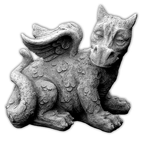 Lustiger antiker Drache Fantasiefigur aus Steinguss frostfest