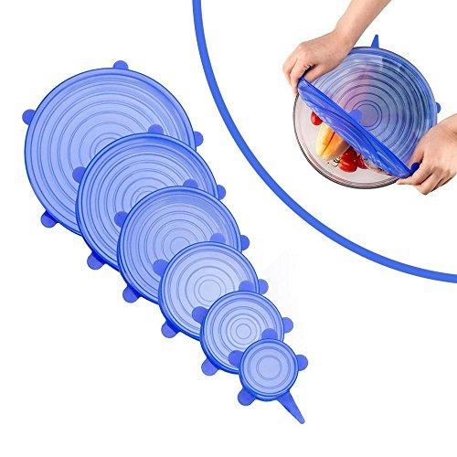 KOBWA Silikon Stretch Deckel, 6 Stück Silikondeckel Stretch Dehnbar, BPA Free Wiederverwendbar Silikon-Food Saver Covers for Platten, Geschirr, Gläser, Obst, Geschirrspüler, Kühlschrank und - Mikrowelle Glas Zoll 10