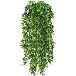 HUAESIN 2pcs 115cm Fougères Artificielles Plantes Suspendues Fausse Plantes Tombante Longue Fausse Plante Grimpante Faux Plantes d'intérieur Fougère de Boston pour Mur Maison Panier Suspendu Décor