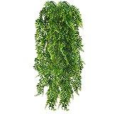 HUAESIN 2pcs Künstliche Hängepflanzen Lang Persischer Farn Kunstpflanze Hängend Unecht Pflanze Plastik Künstlich Grünpflanzen für Innen Außen Balkon Wand Topf Garten Deko 115cm