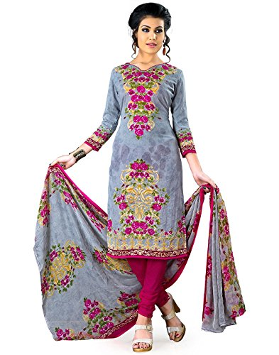 Jevi Prints Women's Unstitched Synthetic Crepe Grey & Fuschia Floral Printed Salwar...