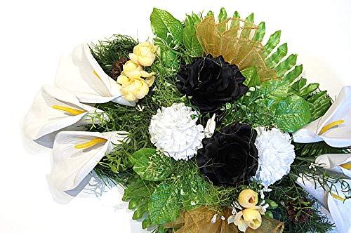 tatjana-land-deko Grabgesteck Grabschmuck Totensonntag Gesteck Allerheiligen Gedenken Rosen BR5-7