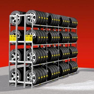 Reifenregal, verzinkt - doppelseitig - 3 Ebenen, Grundfeld - Felgenregal Felgenregale Reifenregal Reifenregale Steckregal