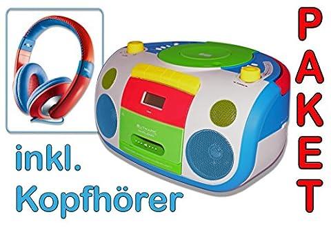 HARLEKIN TRAGBARER KINDER RADIO-KASSETTEN-CD PLAYER STEREOANLAGE BOOMBOX WEISS GRÜN BLAU