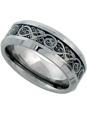 Revoni Ring keltisches Drachenmuster Wolframcarbid, abgeschrägte Kanten, Größen 54 bis 72
