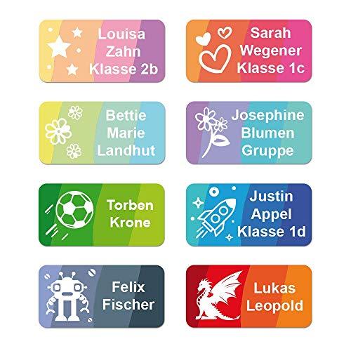 Namensaufkleber Kinder bis zu 3-zeilig Etikett 30x15mm Sticker Namensetikett Schule Kleidung (50 Stück) -