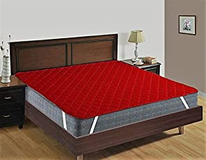 Rajasthan Crafts Premium Double Bed Quilted Mattress Protector Hotel Quality (Cotton, Maroon Colored, 72 x 78) Dust Proof and Water Resistant